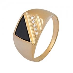 1f02061 Кольцо печатка геометрический орнамент
