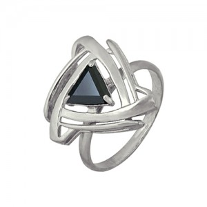 1r02070-1 Кольцо с черным фианитом