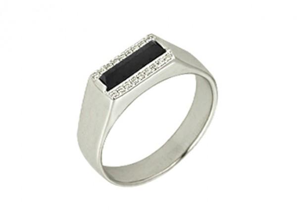 1r025432 Кольцо печатка Секрет с черным фианитом