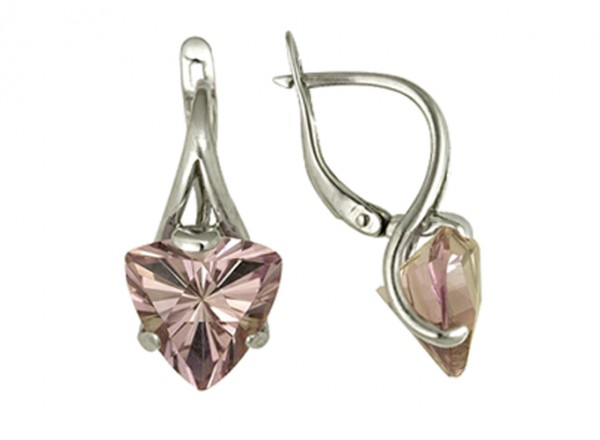 Серьги с розовым аметистом из серебра треугольной формы 3067011409