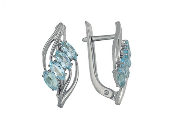 Серьги Голубой родник с голубыми топазами из серебра 3077013024