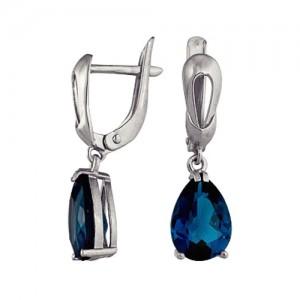Серьги Тайна Океана с синими топазами овальной формы из серебра 3077013537-1