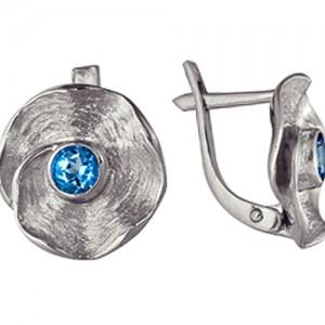 Серьги Точка росы с синим круглым топазом SWAROVSKI из серебра 3077713672