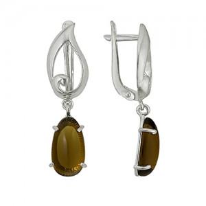 Серьги с кварцем коричневого цвета, овальной формы из серебра 3080011604