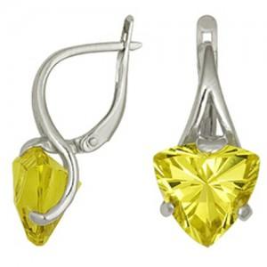 Серьги Солнечные с желтым цитрином из серебра, английская застежка 3097011409