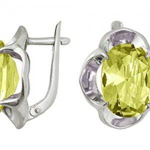 Серьги Кошачий взгляд с желтым цитрином, из серебра. Английский замок 3097011997