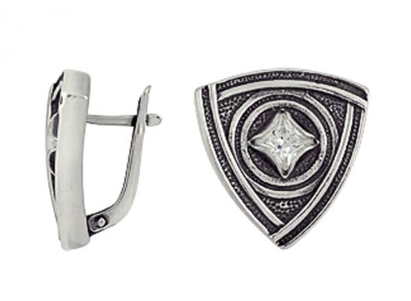Серьги Любовь Викинга, с фианитом, черненое серебро, треугольная форма 925 3201012263