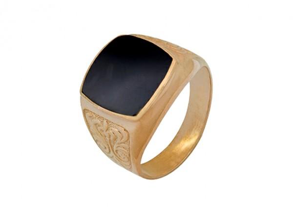 3202005069  Печатка Барокко с черным Фианитом