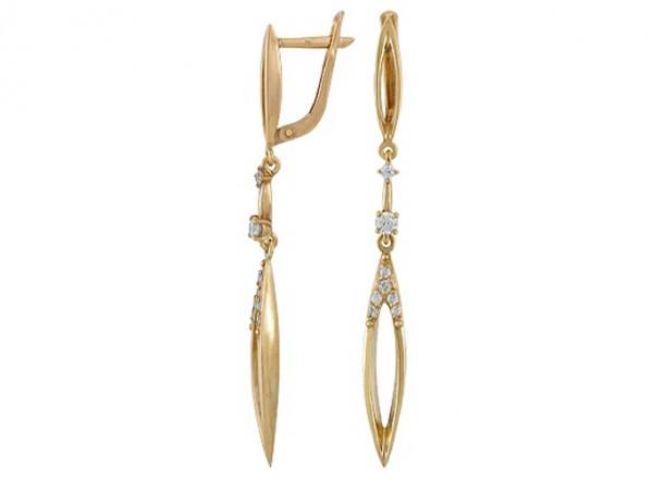Серьги Золотой дождь из желтого серебра с фианитом, длинные 3202012622