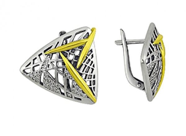 Серьги Луговая Фея из серебра 925 с фианитом. Треугольной формы, английский замок 3205012026