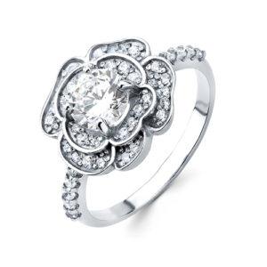 Кольцо Прекрасная Роза с фианитами серебро