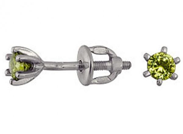 Серьги зеленые искорки пуссеты серебряные с зеленым круглым фианитом 3207015056-4