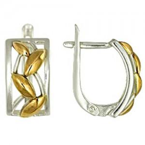 Серьги Пшеничные из белого и красного серебра 925, прямоугольные дизайнерские 3402011045