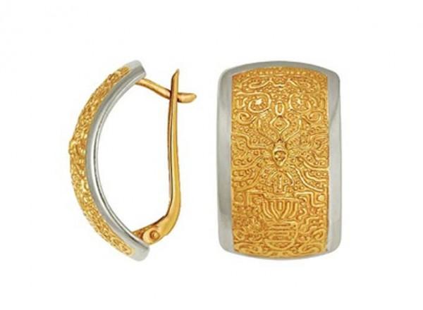 Серьги Клеопатра из желтого и белого серебра прямоугольыне дизайнерские. 3402011196
