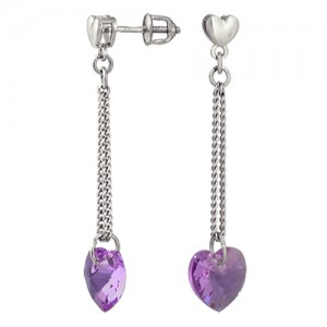 Серьги Сиреневые сердечки с кристалоллом Сваровски из серебра, длинные висюльки 3707015404-8