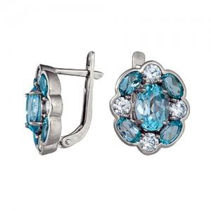 3757013415  Серьги Цветок голубой топаз