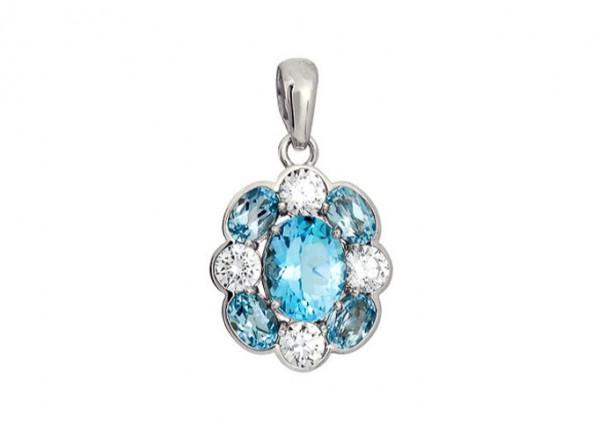 3757033415 Подвеска Цветок голубой топаз