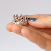 Кольцо корона с гранатом