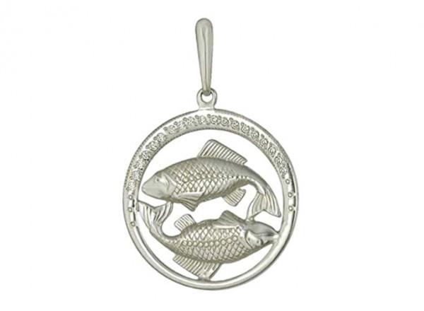 3200036009  Подвеска Знак Зодиака Рыбы с фианитами