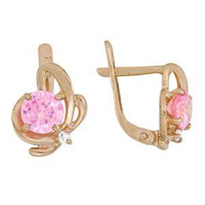 фото серьги розовый сад с фианитами
