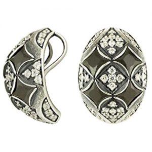 Подвеска Шамаханская Царица с черным и белым фианитом из серебра 925 пробы 3201031670