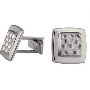 Запонки Гамбит мужские из серебра с орнаментом 3407348050-1