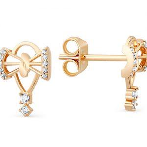 фото Серьги пусеты «Золотые бантики» с белыми фианитами позолоченные, серебро 925 пробы. 3202015469л