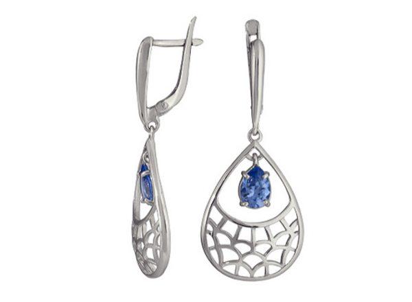 Серьги Морская пена с синей Шпинелью из серебра 925 длинные. 3217013565
