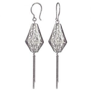 фото Серьги «Волшебная лампа Алладина» длинные кружевные из серебра, застежка петля. 3407011840