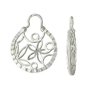 фото Серьги калачи «Красавица Забава» серебряные, с кружевным орнаментом. 3408011011