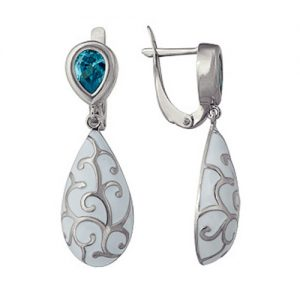 фото Серьги серебро «Голубая фея» с бирюзовым фианитом длинные. Эмаль, орнамент. 3647013558