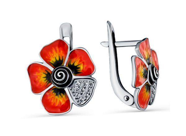 Серьги «Огненные Маки» цветки серебряные с фианитом и эмалью, английская застежка. 3647014084