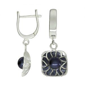 Серьги длинные квадратные «Черная жемчужина» серебряные с черным жемчугом. S2215400031