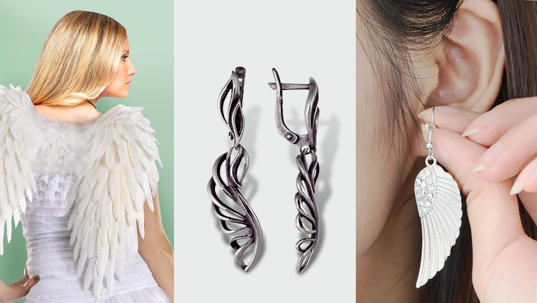 серьги крылья в моде в 2017 году - длинные крылья из серебра с английской застежкой