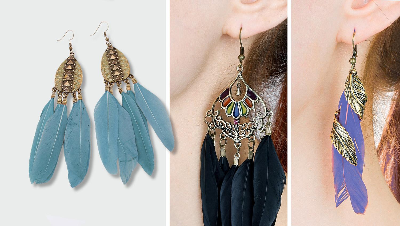 Модные серьги перья 2017 - серебряная оправа и легкие длинные разноцветные перья