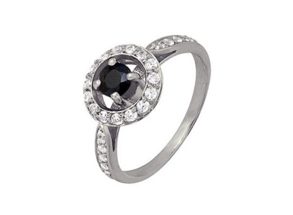 Кольцо Звездный танец с сапфиром и фианитом из серебра. 1r5b6261