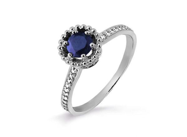 Кольцо Бетси с темным синим сапфиром серебро. 3987003760л-7