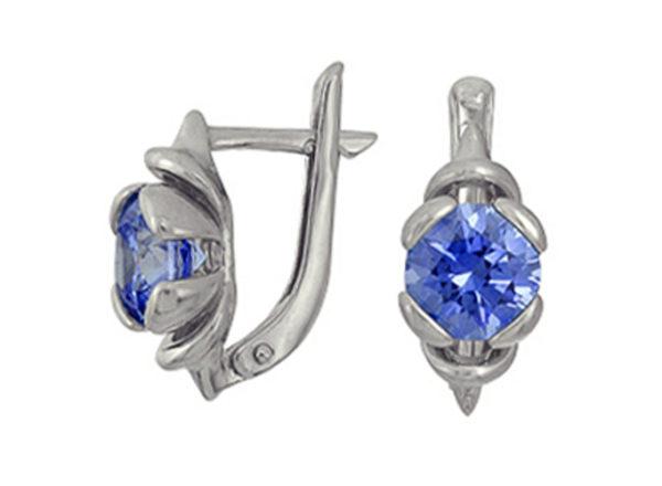 """Серьги """"Каттлея"""" с синим фианитом SWAROVSKI из серебра, небольшие, английская застежка"""