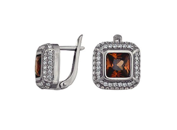 """серьги """"Квадратные"""" с коричневым камнем фианитом геометрические, из серебра"""