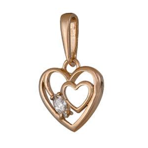 Подвеска валентинка солнечное сердце из серебра с фианитом
