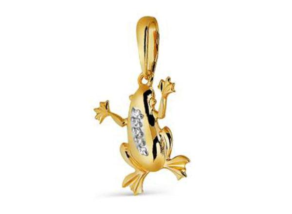 Подвеска Золотая Лягушка из серебра с фианитом, талисман богатства
