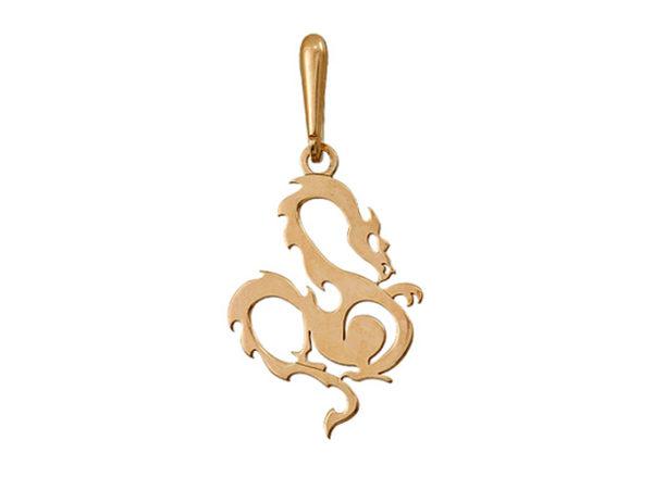 Подвеска Золотой дракон - привлечение богатства, серебро