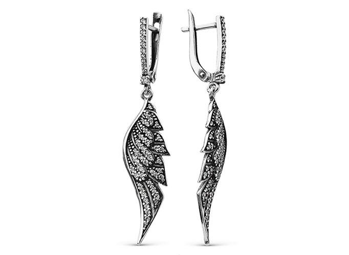 Длинные серьги крылья орла с фианитом серебро