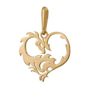 Подвеска сердце дракона талисман богатства серебро