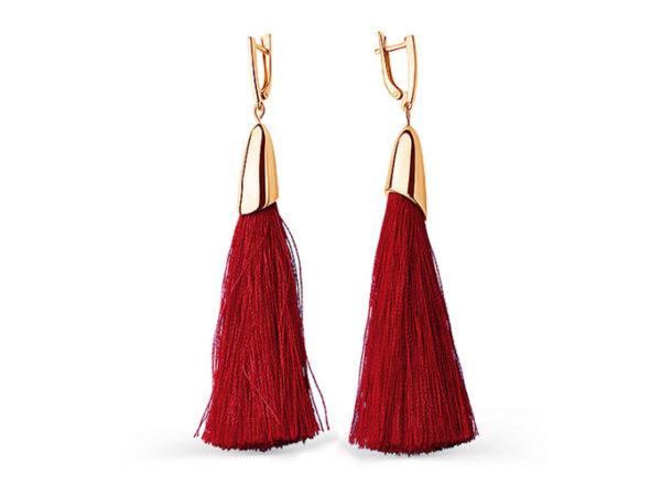 Cерьги кисти красные длинные шелковые