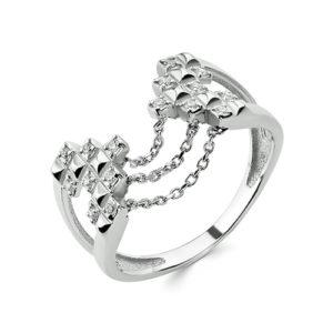 Кольцо Дива с фианитом серебро с цепочками