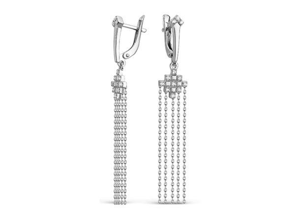 Серьги кисти Дива с фианитом длинные, серебро
