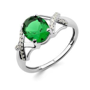 Кольцо Зеленый Сад с изумрудом и фианитом серебро