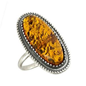 Кольцо -Дар древнего леса- с Янтарем серебро