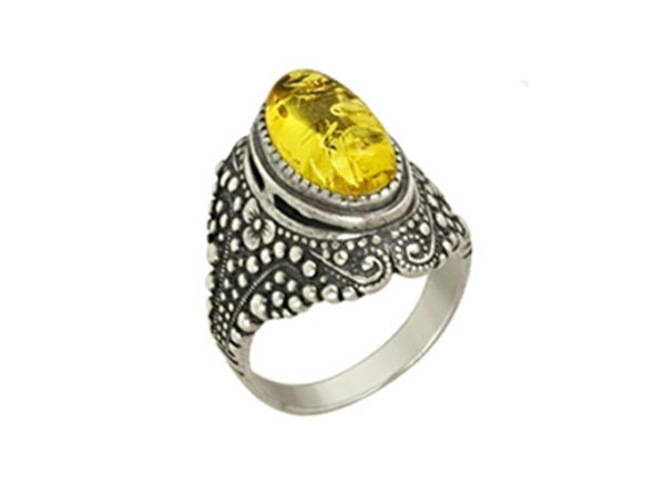 Кольцо Глаз Дракона с Янтарем желтое